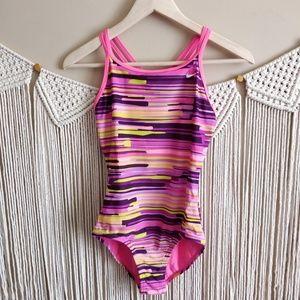 Speedo Pink Multicolor Stripe One Piece Swimsuit